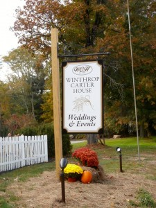 Photograph of the sign for the Winthrop Carter House in Boscawen NH, courtesy of Loren Magee. Used with permission.