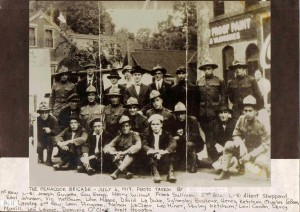 """A 1917 photograph of the """"Penacook Brigade,"""" a group of men who served in World War 1 in the """"Yankee Division."""" Courtesy of Ruth Speed, used with her permission."""