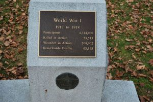 WWI plaque in Deschenes Oval Nashua about WWI,