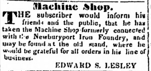 MACHINE SHOP ADVERTISEMENT January 3, 1837 Newburyport Herald, page 1