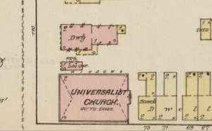 Section of 1885 Sanborn Insurance Map of Nashua NH showing the corner of Main and Pearl Streets. The pink-shaded rectangles just above the Universalist Church are the physician's office and the Hammond residence.
