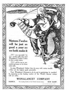 1912 Wonalancet Co. Santa and New Year advertising