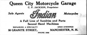A 1915 Manchester City (NH) Directory advertisement for an Indian motorcycle