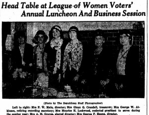 1931 Springfield Republican newpaper article about Elena (Crough) Lockwood's involvement with the League of Woman Voters.