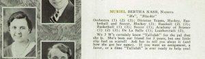 1932 Yearbook of Keene New Hampshire showing Muriel Nash.