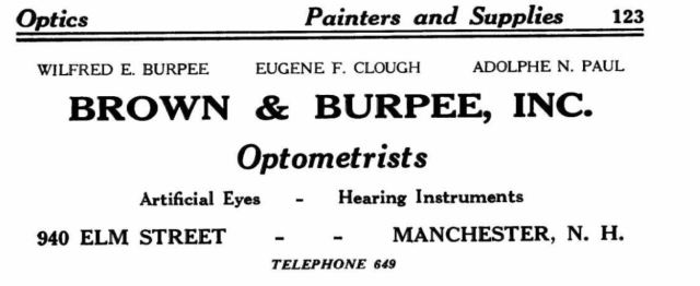 1937 advertisement for Brown & Burpee Optometrists