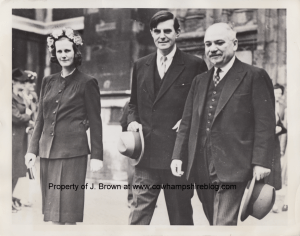 July 1942 Dominion Day Service at Westminster Abbey, London, England. From left to right: Constant (Russell) Winant [Mrs. John], John G. Winant ambassador, and M. Maisky, Russian Ambassador.