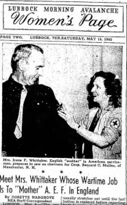 Newspaper clipping from Lubbock TX newspaper showing Cpl. Mullens while he was stations in England [see story for details].