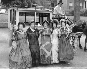 Group Portrait Centennial Parade of 1936; Mrs. Albina How --; Mrs. Jennie Currier, Mrs. Mary Mullen; Mrs. Lanch Label and Mrs. Doris Mibran (the carriage driver is not identified). Zerwick Photographer. Manchester Historic Association Collection. Used with permission.