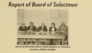 From 1977 Salem Report showing board of selectmen, including Vesta Roy.