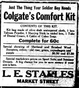 Portsmouth New Hampshire advertisement of August 1917 at L.E. Staples for a comfort kit.