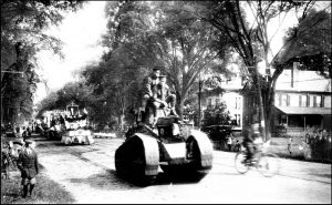 A July 20, 1919 Boston Post newspaper article announced that a whippet tank would be included in the 1919 Labor Day parade. This is probably a photograph of that event. Photo from the Keene NH Library photo stream on Flickr.