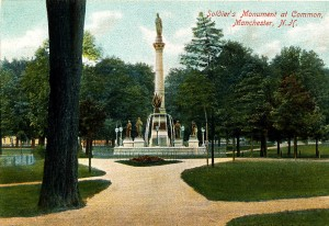 Civil War Soldier's Monument from old postcard, Manchester NH