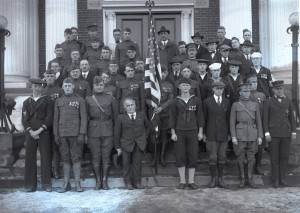 Armistice Day, Durham NH Veterans of Foreign Wars in uniform, November 11, 1921, Photograph by Clement Moran, 1921, University of NH Photographs.