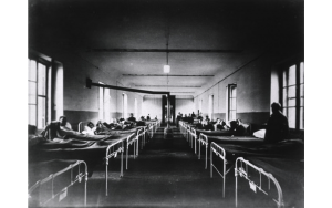 Photo, U.S. Army Base Hospital Number 6, Bordeau, France, Medical Ward No. 18; The National Library of Medicine