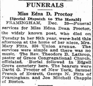 Boston Herald, December 21, 1923: Funeral Notice of Edna Dean Proctor