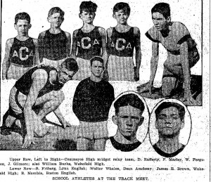 Boston Sunday Globe, February 18, 1917 Photograph showing School Athletes at the Track Meet. Lower Row, on left, B. Friberg, Lynn English.