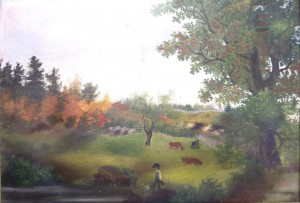 Painting by Emma Burgum circa 1852, Oil on paper over wood board, View from Countess Rumford's house. From The Edwin G. Burgum Collection, New Hampshire Historical Society Online.