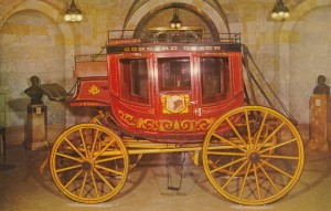 Postcard of one of the stagecoaches made by the Abbot-Downing Company of Concord about 1853. Now exhibited at the New Hampshire Historical Society.