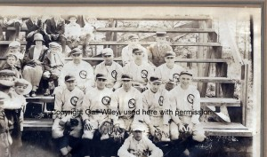 "St. Marie's Church baseball team of 1923.  Top row, left is Fred Clement.   A row down and to the far left, is his son, a curly-headed boy, Robert ""Curly"" Clement."