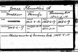 Masonic Membership Card of F.A. Jones