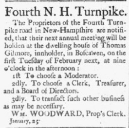Oracle Post, Portsmouth NH, Tuesday February 5, 1805; re: Fourth N.H. Turnpike