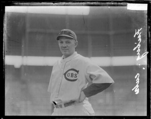 Baseball player Friberg, playing for the Cubs in 1924, shown standing on the field at Weeghman Field.  SDN-064871, Chicago Daily News negatives collection, Chicago History Museum via American Memory.