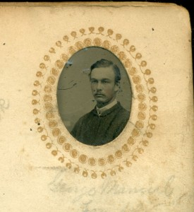 A gem-sized tintype photograph of George Manuel of Franklin NH. He was born in 1848.