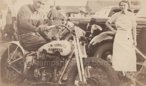 "Photograph of George Forest sitting on a ""Pete Forest Roamers"" marked motorcycle. Taken Jul;y 1935 by Berwin H. Webster. Photograph copyright Janice W. Brown (watermarked)."