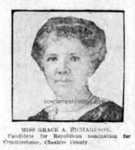 Grace A. Richardson, New Hampshire's first county commissioner, from the Boston Globe newspaper.