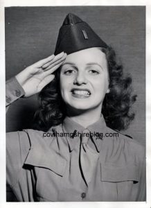 1943 photograph of Ilene Woods, in uniform after she was commissioned an honorary First Lieutenant of the 22nd Coast Artillery.