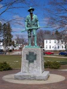 """Photograph of """"The Hiker"""" statue and memorial at Bronstein Park in Manchester, New Hampshire. Taken by John Platek and used with his permission as seen here."""