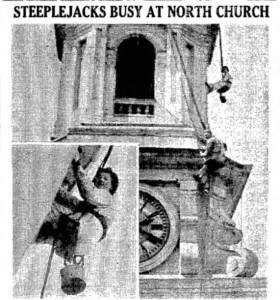 "n July of 1937 Miss Marion Plunkett and her partner Paul ""Red"" O'Leary paint Portsmouth's North Church spire in 1937."