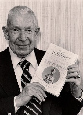 "Leon ""Andy"" Anderson, NH legislative historian in 1931 with his book."