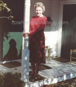 Lillian Rogers in 1982, the year her book of poems was published. On the porch of Seawind Farm, North Hampton NH