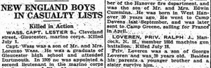 Notice from Boston Herald, Boston MA, 17 Aug 1918, page 3 that Private Ralph J. Loveren had been killed.
