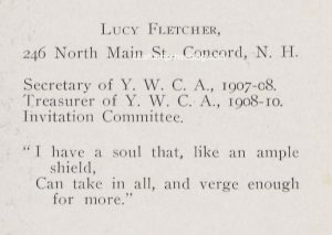 From the 1910 Radcliffe College yearbook, Lucy N. Fletcher's listing.