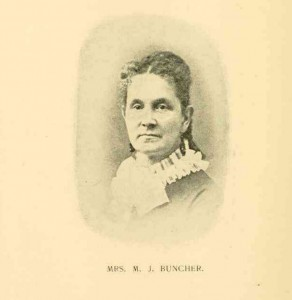 Mrs. M.J. Buncher, from Our Army Nurses. Interesting Sketches, Addresses, and Photographs of Nearly One Hundred of the Noble Women Who Served in Hospitals and on Battlefields During Our Civil War, page 330.