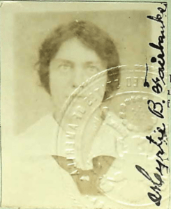 Passport photograph of Myrtie Belle Fairbanks, daughter of Chester M.