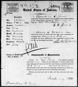 1869 Passport application of Florentine A. Jones