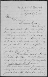 First page of letter dated April 20th, 1865 from U.S. General Hospital, Fortress Monroe, Va., Chaplain Billingsly to Mrs. Orvis Fisher concerning her husband's death and burial in Virginia