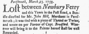Post Road 31 March 1758 New-Hampshire Gazette