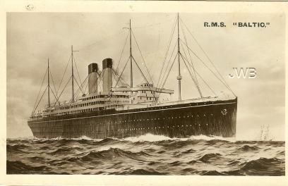 RMS Baltic postcard at Cow Hampshire