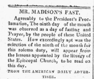 Constitutionalist newspaper (Exeter NH) on Sept 21, 1813 showing President Madison's fast day proclamation.