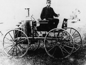 "Sylvester Roper and his ""steam carriage"" made sometime before 1870. From The Smithsonian Institution [found at Wikipedia]"