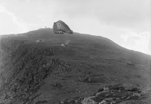 The Ark on Mt. Washington, New Hampshire. (SPOOF).  Photograph created using a real photograph of Mt. Washington, taken circa 1900 and a sketch of Noah's Ark, taken from The Bible panorama 1891.