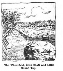 "Sketch of ""The Wheatfield"" at Gettysburg where Col. Cross fought and died."