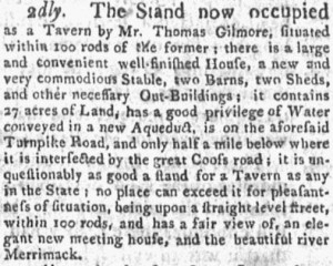 Courier of New Hampshire (Concord NH) Oct 10, 1804 Timothy Dix ad to sell property and settle debts as moving from Boscawen NH to Portsmouth NH.