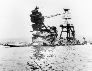 USS Arizona following the attack on Pearl Harbor.