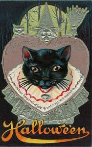 cat black halloween victorian